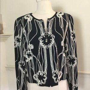 St. John black & white embroidered jacket size 10
